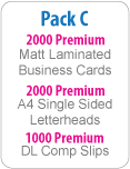 Business Set C: 2000 Matt Business Cards, A4 Letterhead &amp; 1000 DL Comp Slips